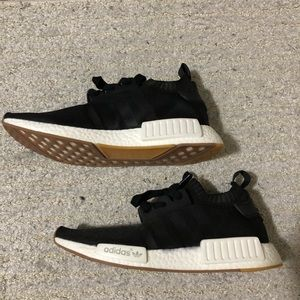 Adidas nmd 8.5 black white gum sole flyknit shoes
